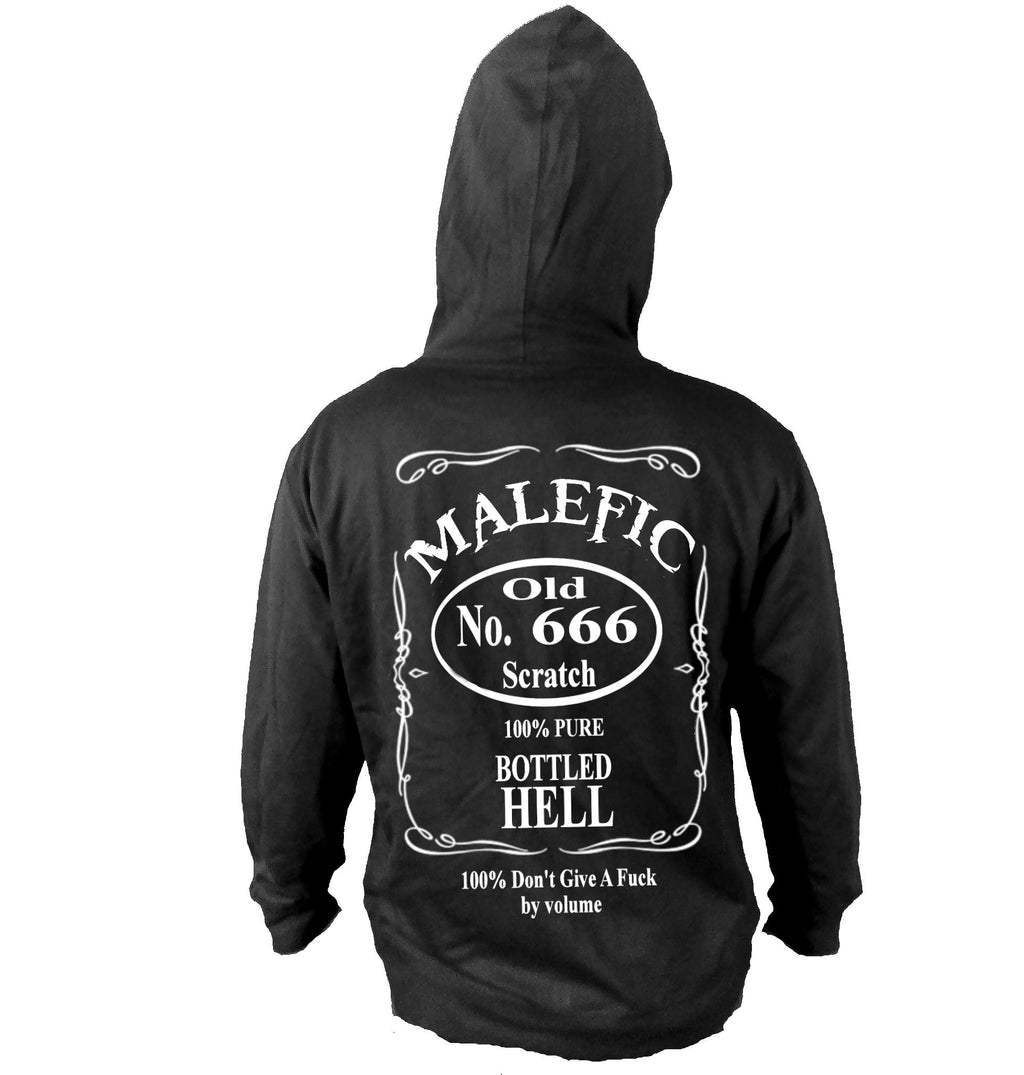 Satanic whiskey cocktail, satan, 666, hell, whiskey label, rock'n'roll style, rocker fashion, lightweight hoodie.