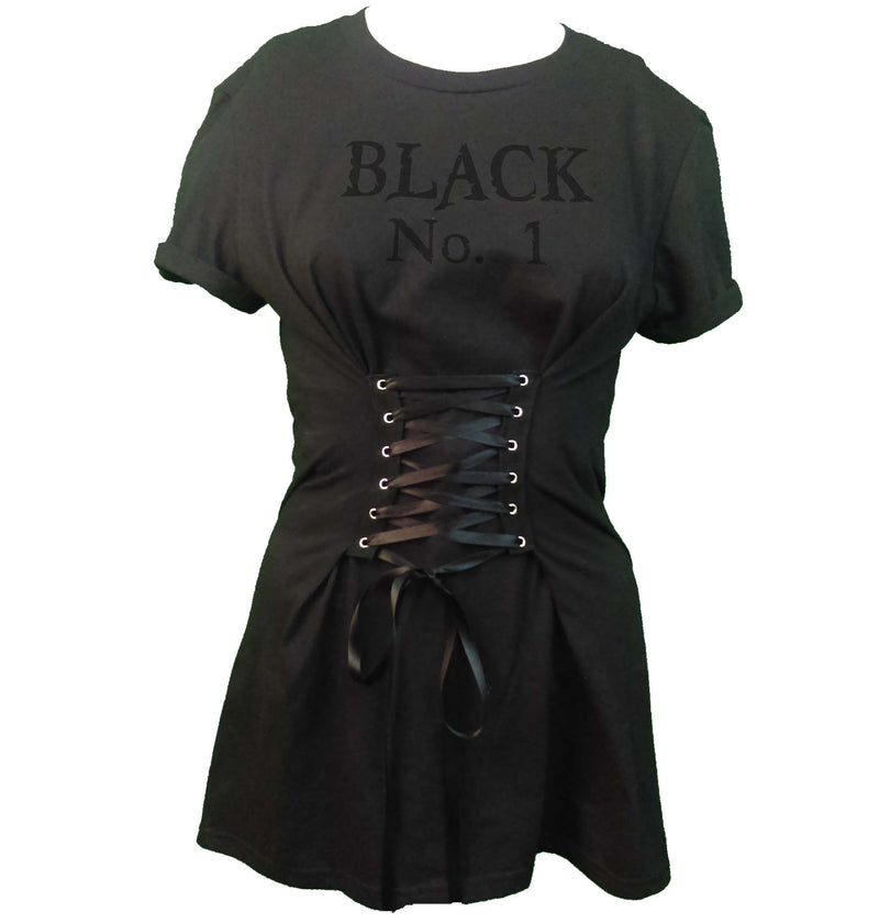 Corset Tee Dress - Black No.1