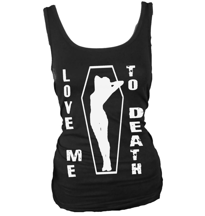 Love Me To Death Pin up Girl in Coffin women's tank top, gothic fashion, goth girl.