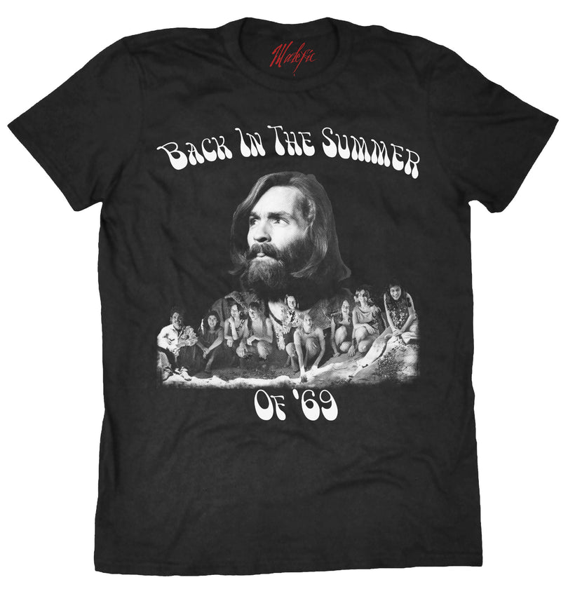 Charles Manson and the Manson Family tee shirt, Summer of '69, true crime, serial killer tee shirt.