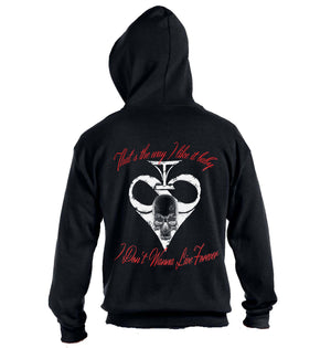"Inspired by Motorhead, the ""Ace of Spades"" Death Spade zip up hoodie is ready to rock! Rock style, rock fashion, rock'n'roll, hoodie"