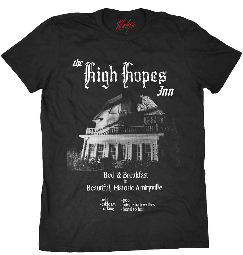 Amityville Horror tee shirt, amityville house High Hopes Inn, horror fashion, horror movie tee shirt