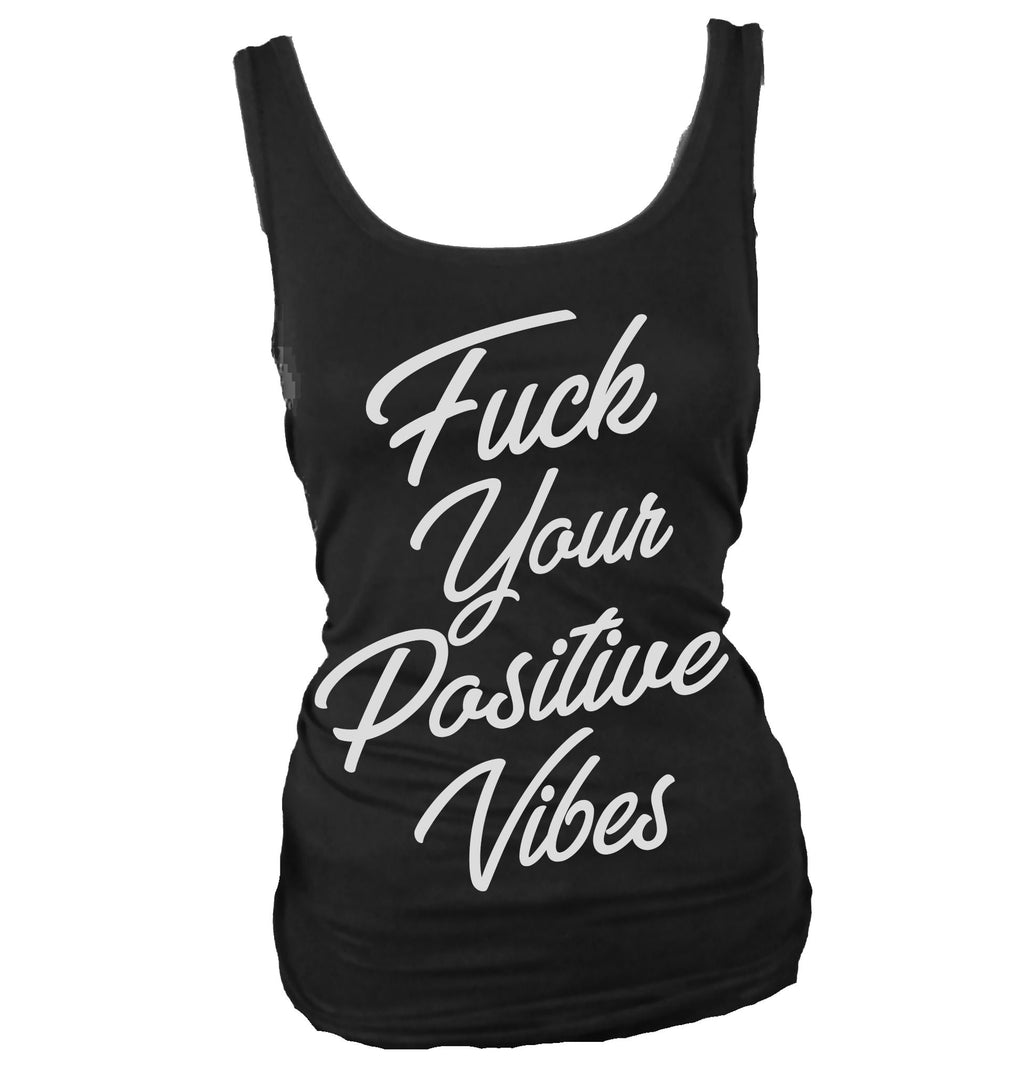 Positive Vibes Only women's tank top. Positive, uplifting happy message clothing.