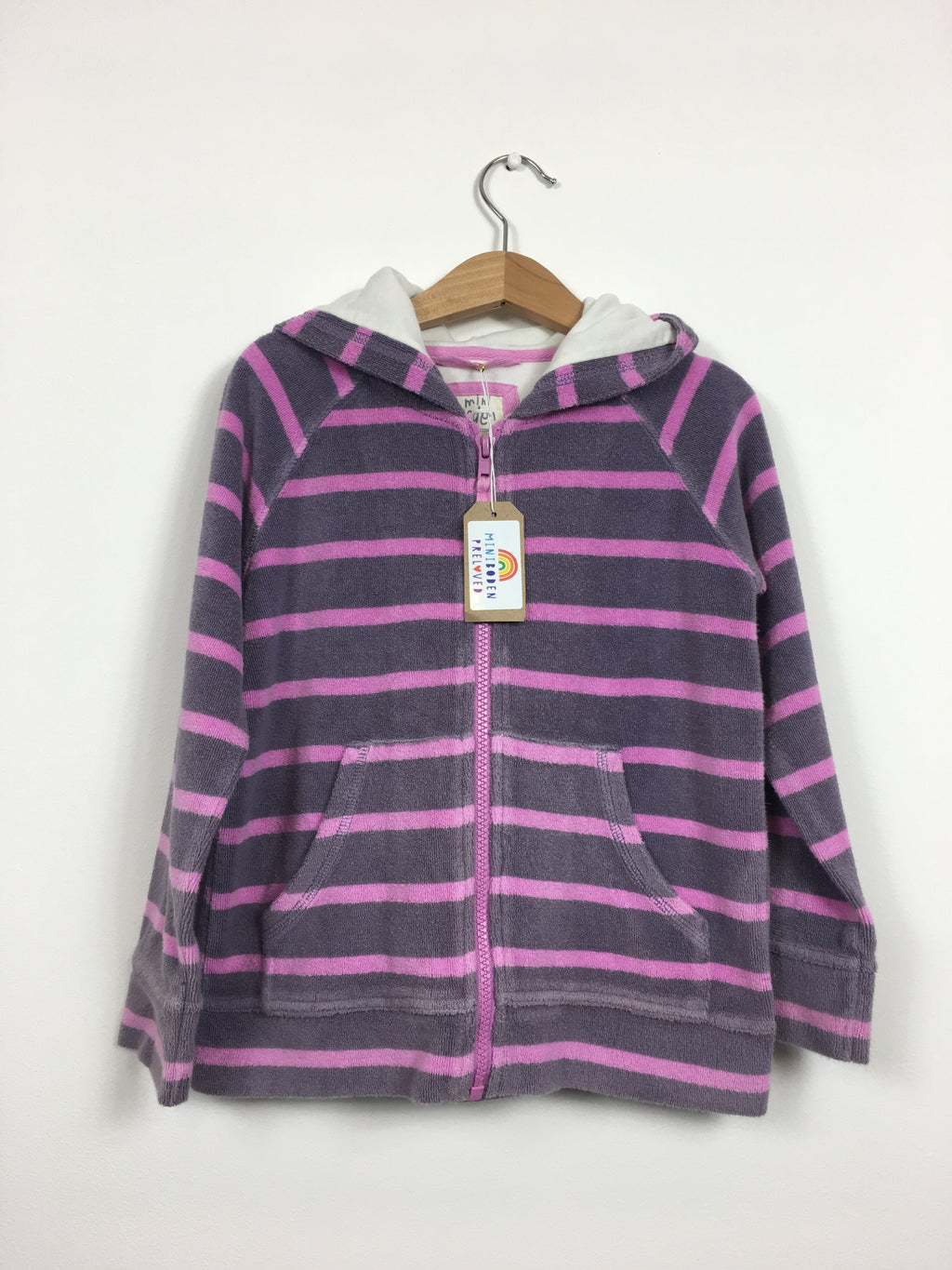 Purple & Pink Stripey Towelling Zip Up Top