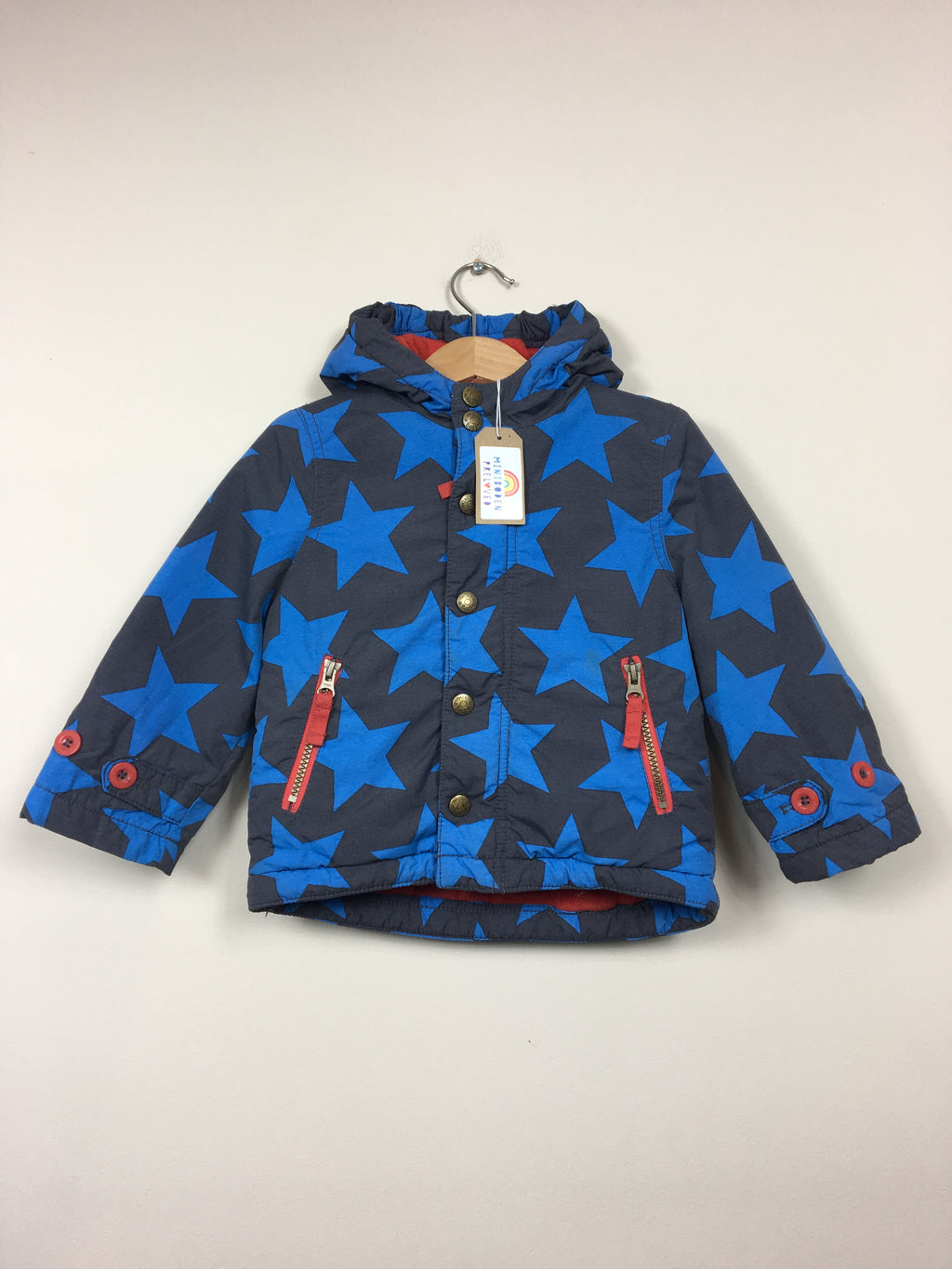 Blue & Red Star Print Fleece Lined Jacket (18-24 Months)