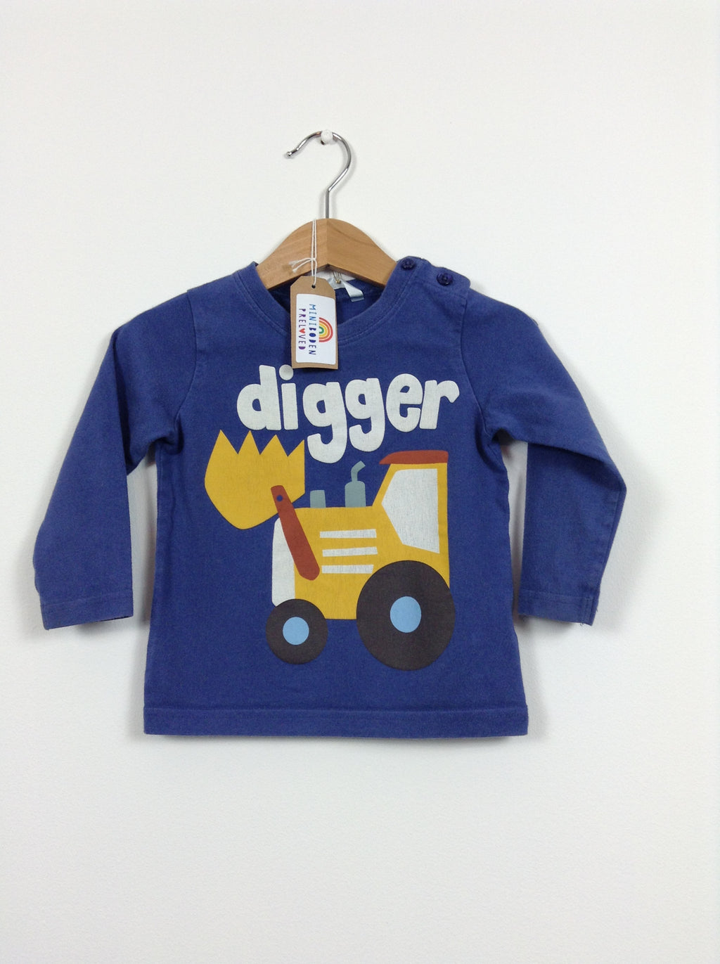 Navy Blue & Yellow Digger Print Top (Age 12-18 Months)