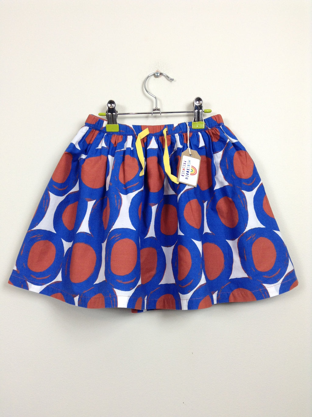 Blue Retro Print Skirt