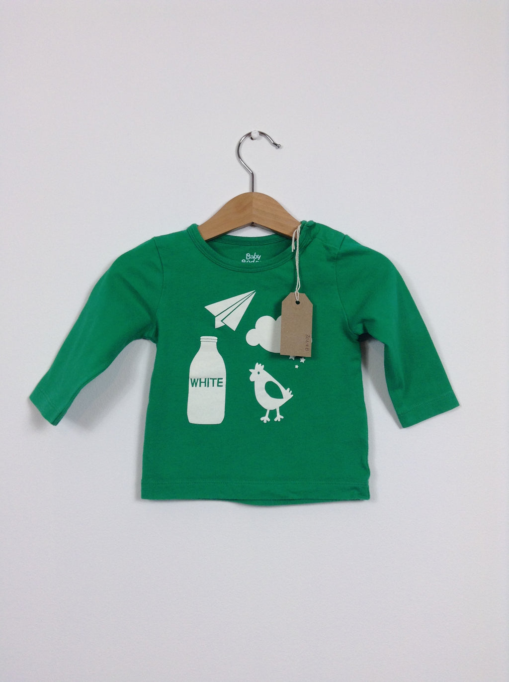 Green Long Sleeved Farm Print Top (Age 3-6 Months)