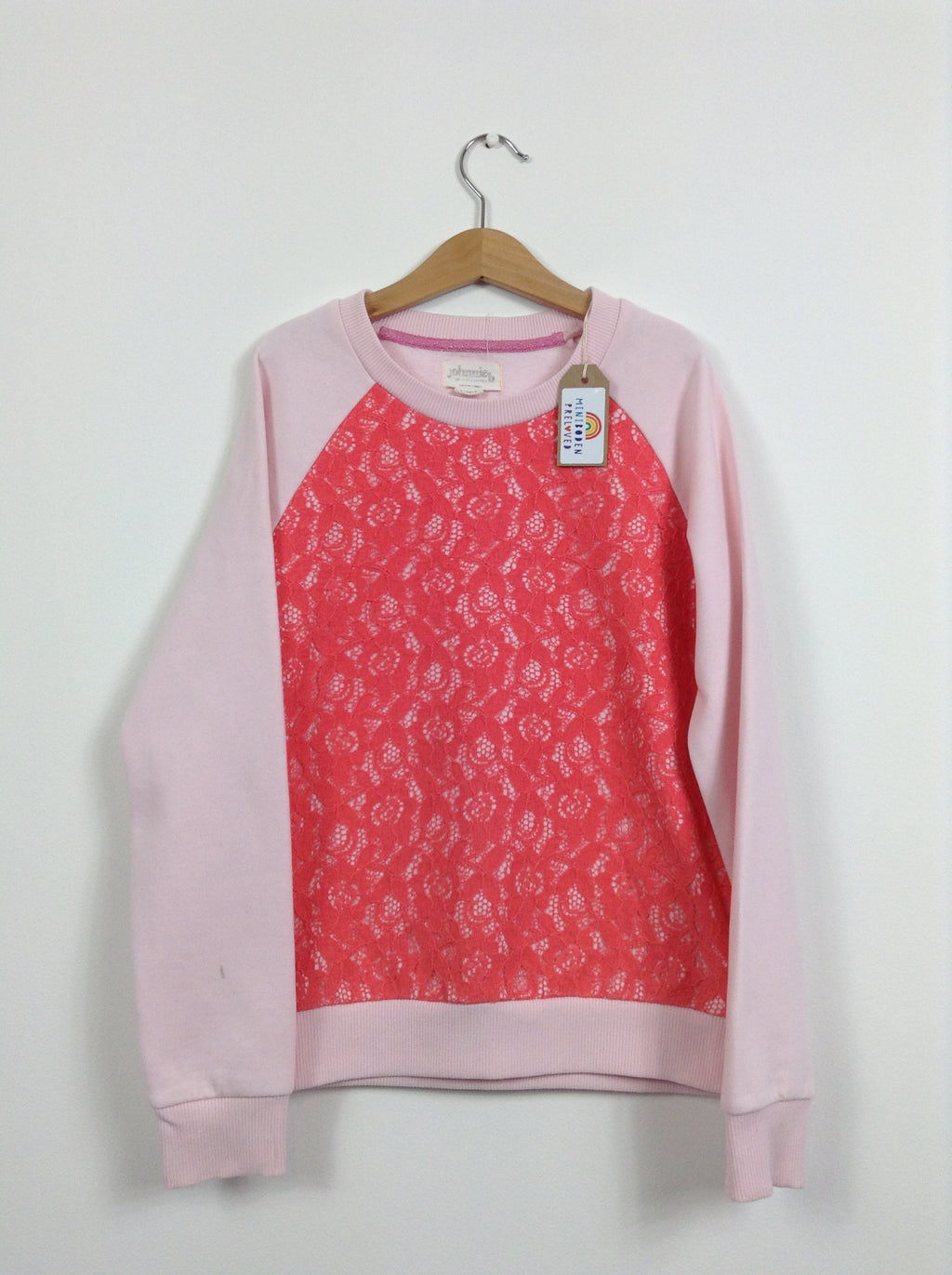 Gorgeous Pink Jumper With Lace Detail