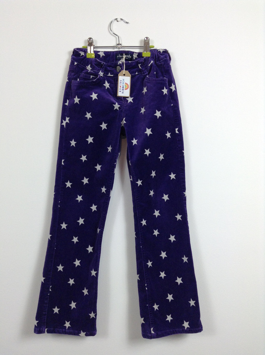 Purple Star Print Velvet Trousers