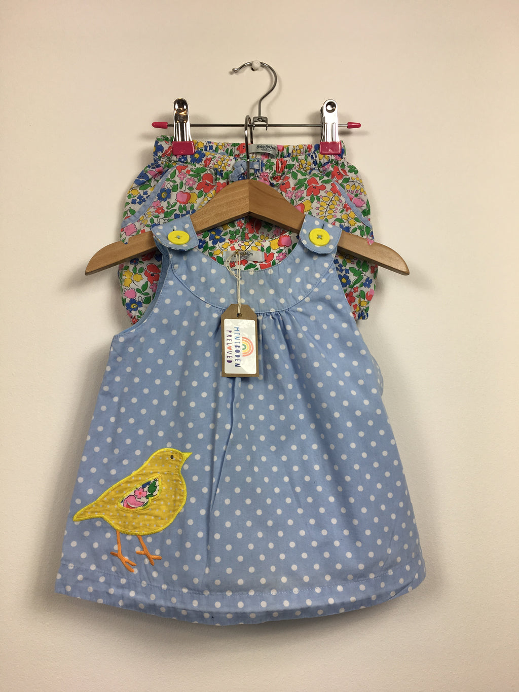 Liberty Print Shorts & Blue Bird Appliqué Top (12-18 Months)