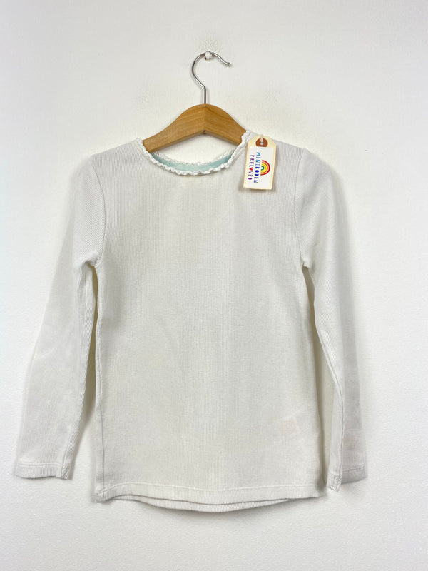 Ruffle Neck White Ribbed Top (5-6 Years)