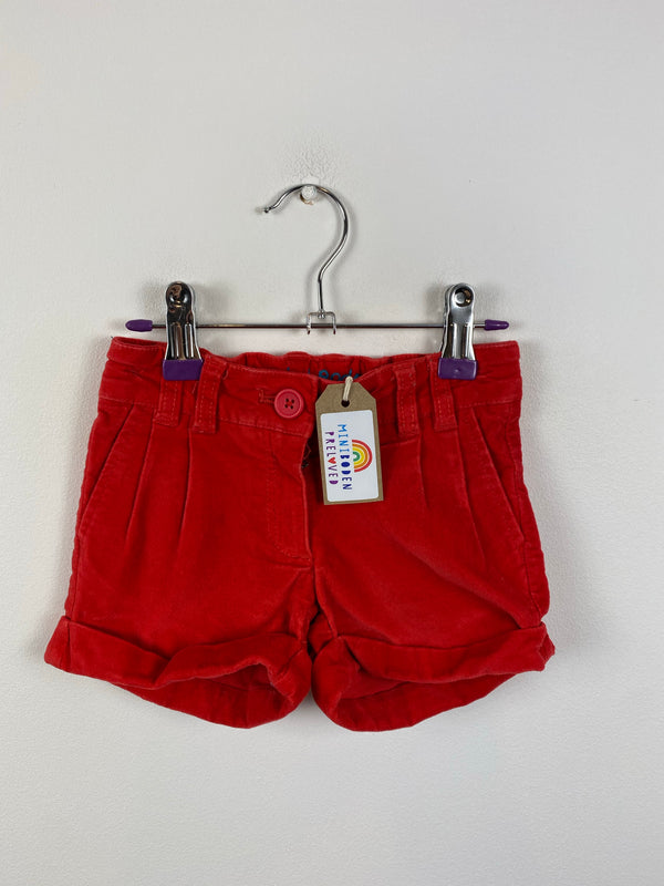 Fire Engine Red Velvet Party Shorts (18-24 months)