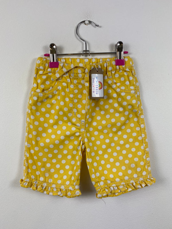 Pretty Mustard Spotty Heart Patch Shorts (18-24 Months)