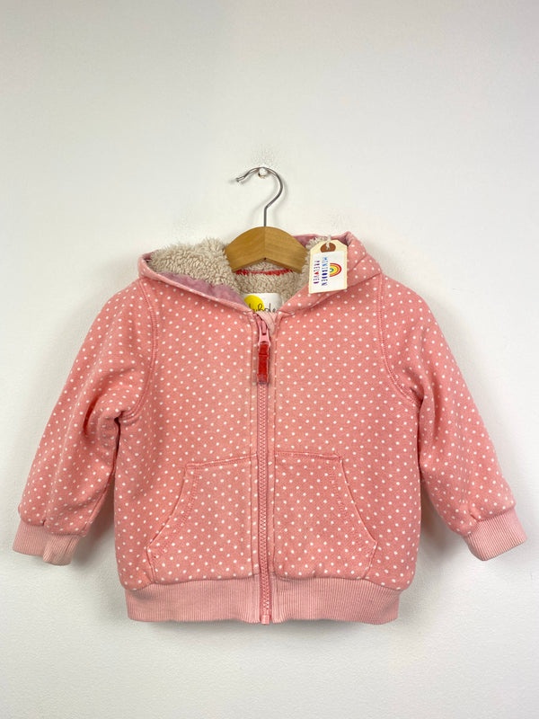 Teddy Ears Pink Polka Dot Sherpa Lined Zip Up (6-12 Months)