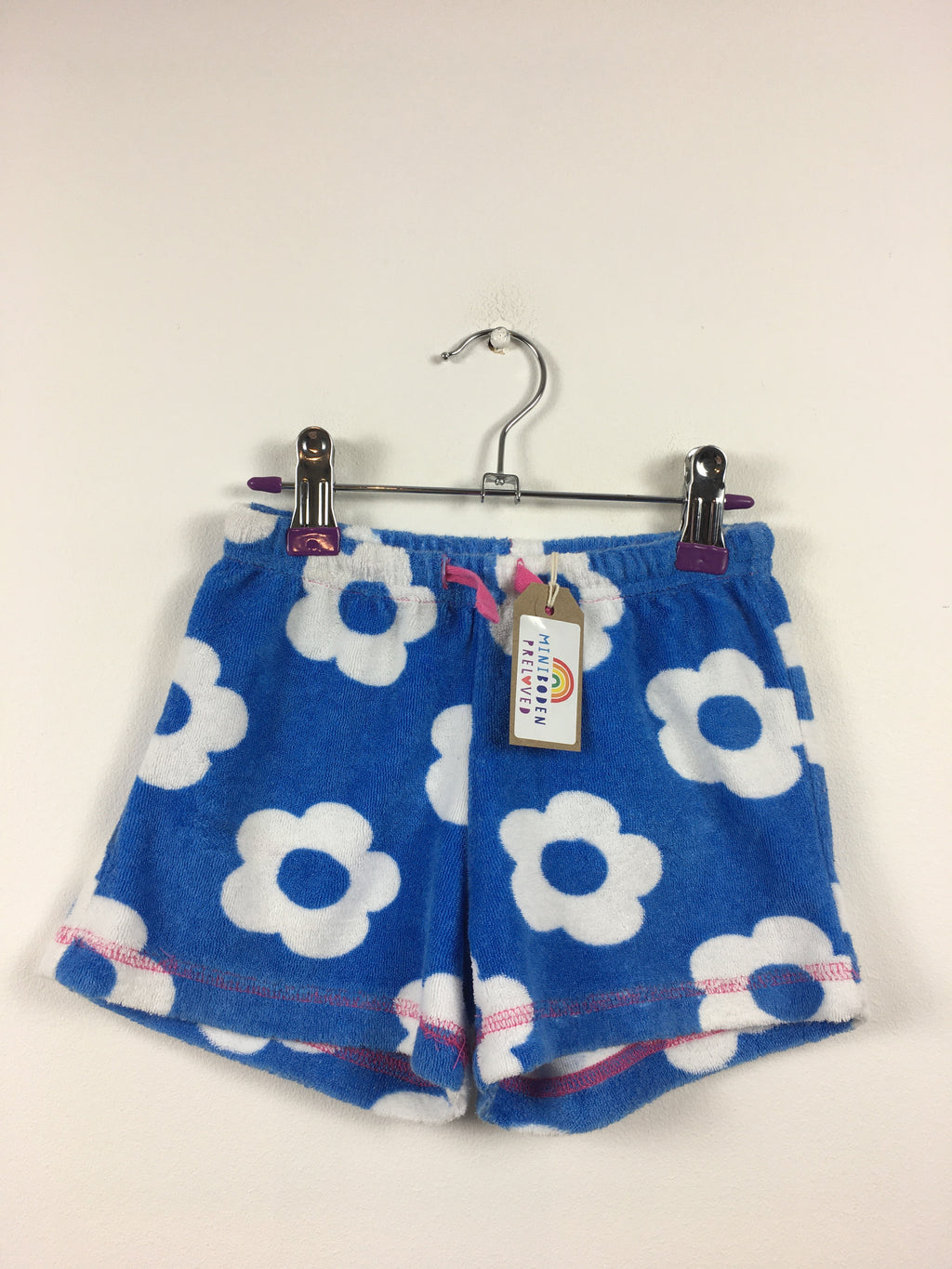 Blue Flower Print Towelling Shorts (4 Years)