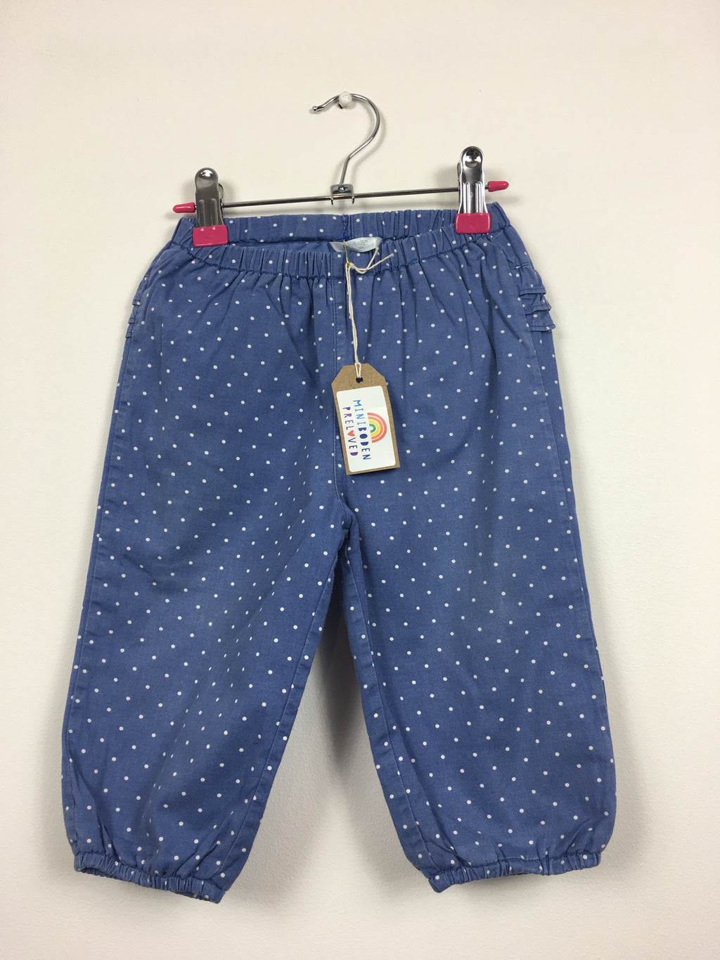 Blue Spotty Ruffle Bum Trousers (12-18 Months)