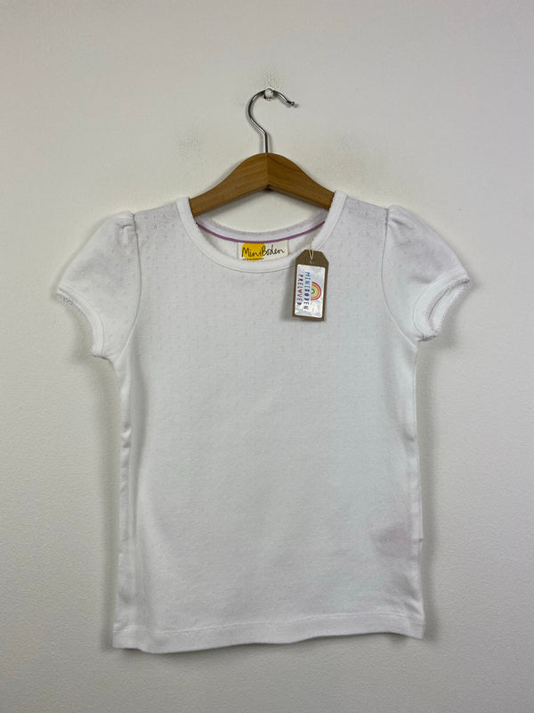 White Short Sleeved Pointelle (6-7 Years)