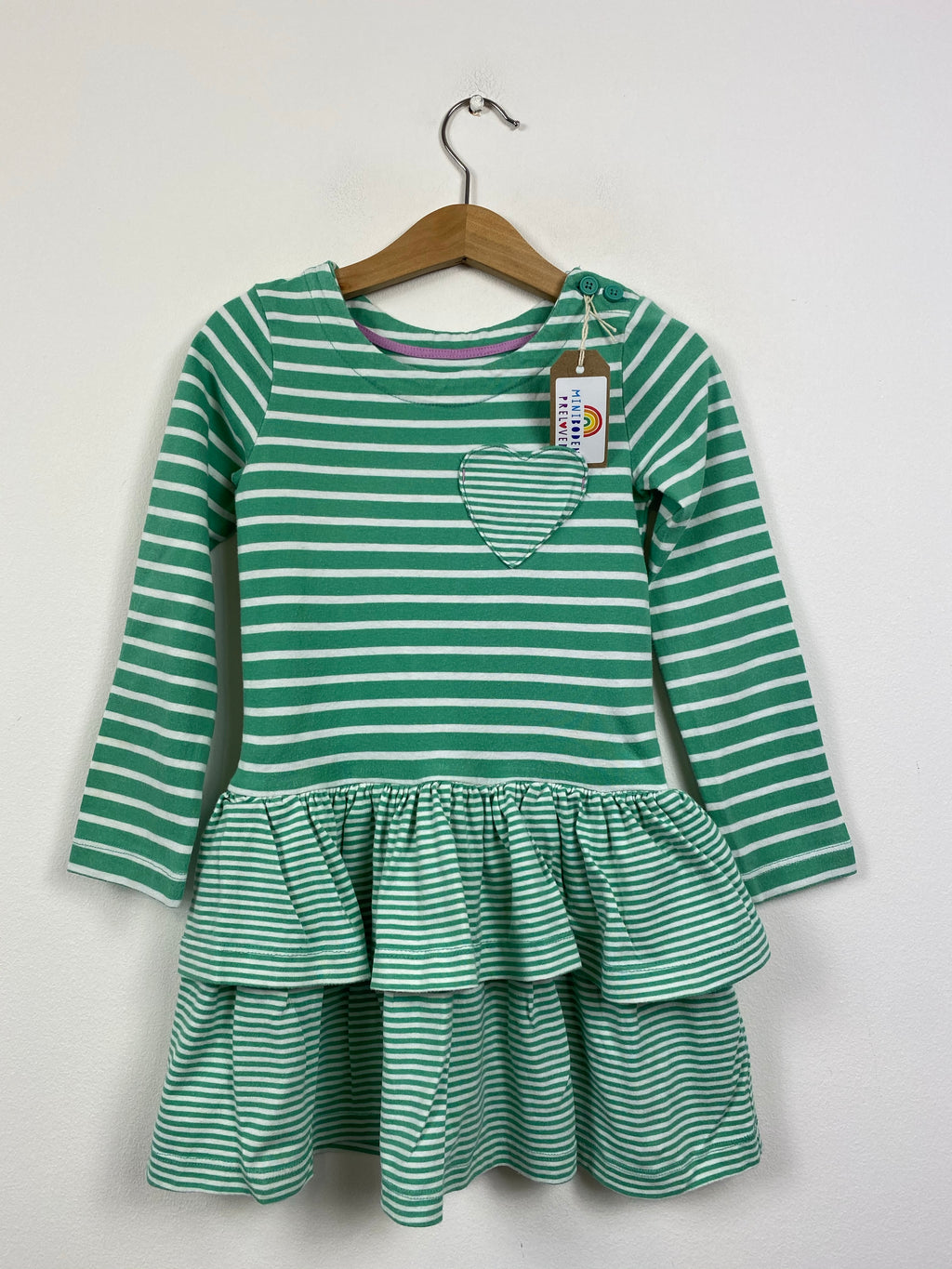 Green Stripy Cotton RaRa Dress (3-4 Years)