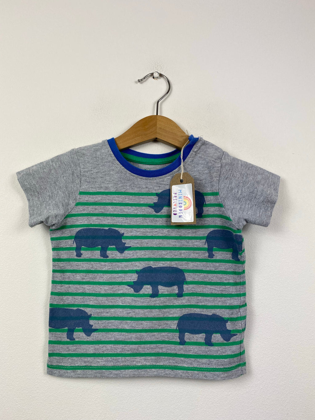 Stripy Grey Rhino Patterned Top (6-12 Months)