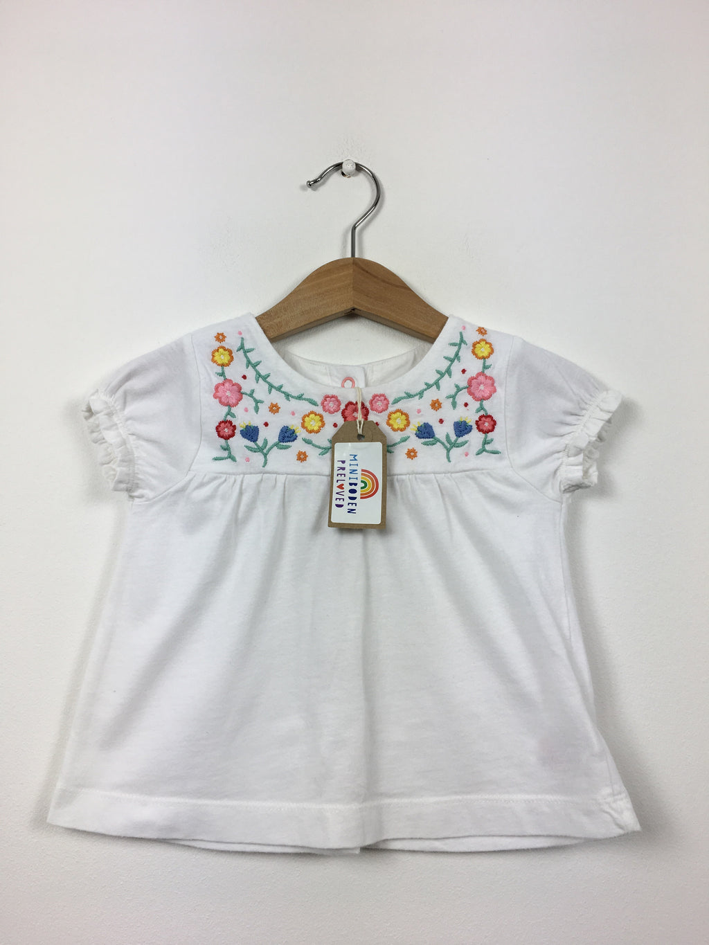 Short Sleeved Embroidered White Blouse (6-12 Months)