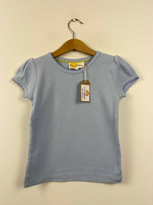 Pale Blue Short Sleeved Pointelle Top (4-5 Years)
