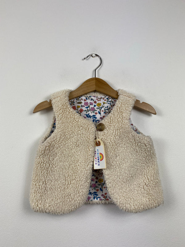 Fluffy Cream Gilet With Woodland Lining (12-18 Months)