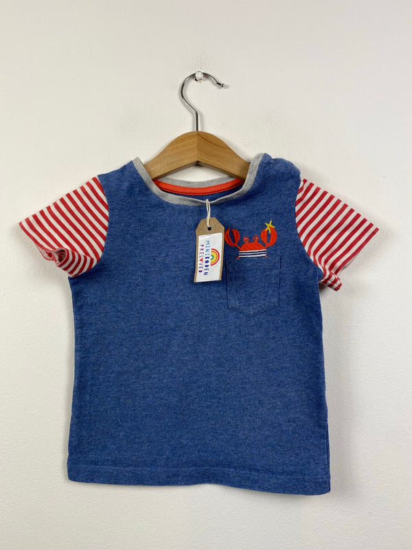 Blue Applique Pocket Crab Top (12-18 Months)