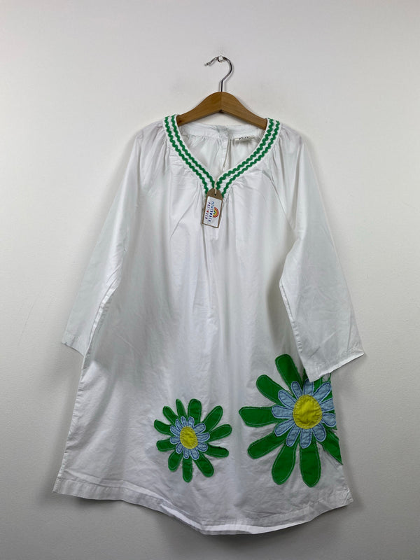White Appliqué Flower Kaftan (13-14 Years)