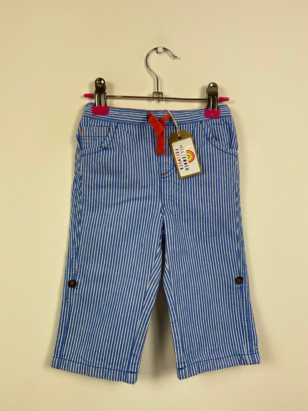 Blue Stripy Roll Up Trousers (6-12 Months)