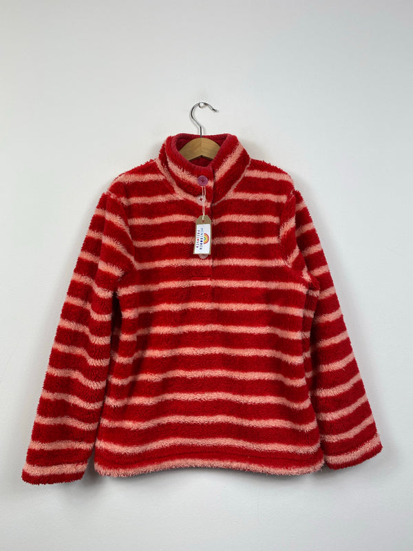 Collared Red & Pink Stripy Fleece (9-10 Years)