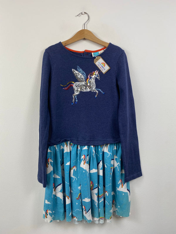 Lovely Sequin Unicorn Navy Dress (9-10 Years)
