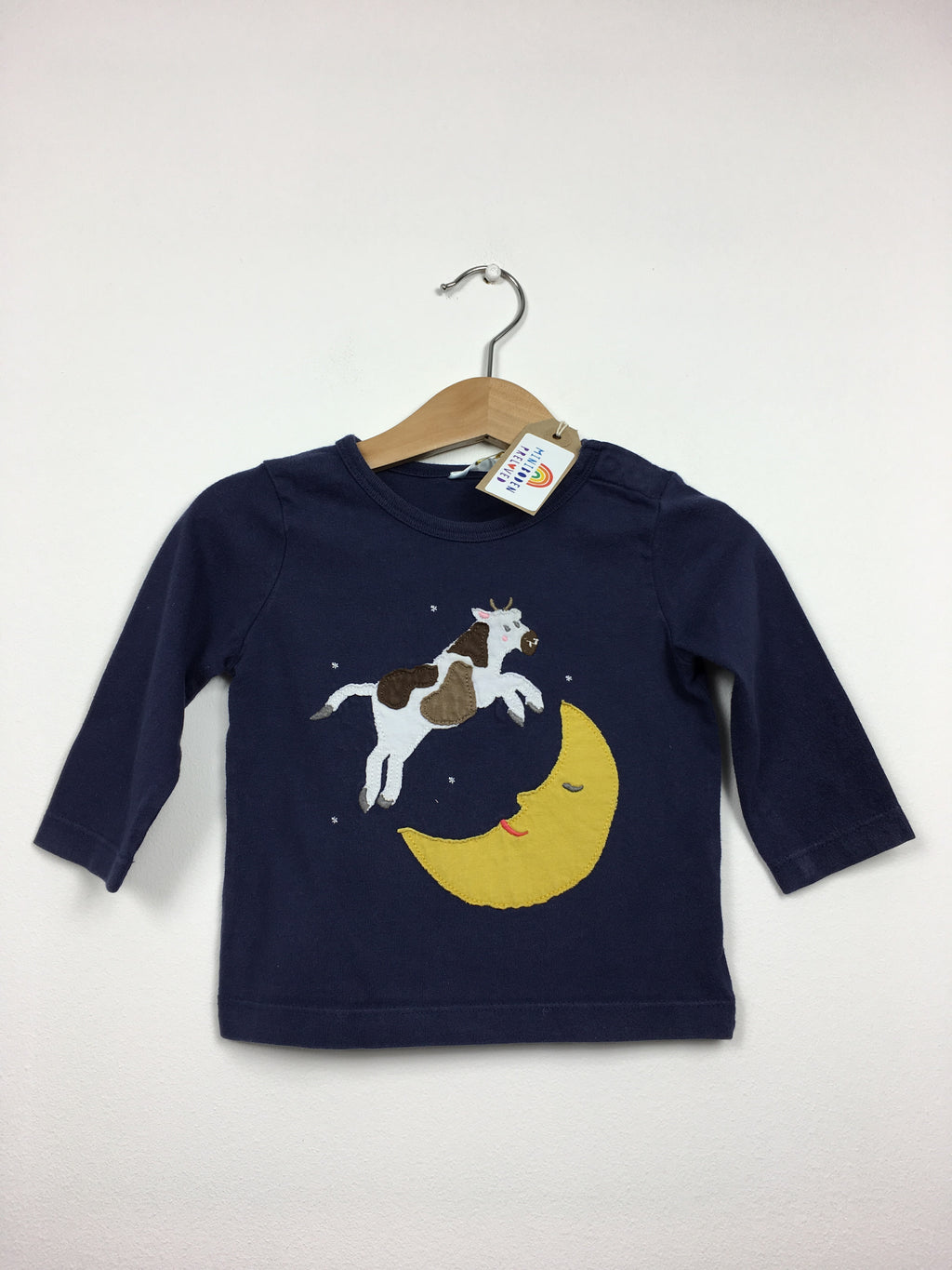 Blue Applique Cow & Moon Top (6-12 Months)
