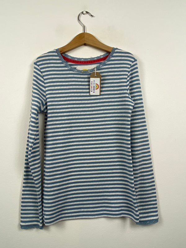 Soft Blue & White Stripy Pointelle Top (9-10 Years)