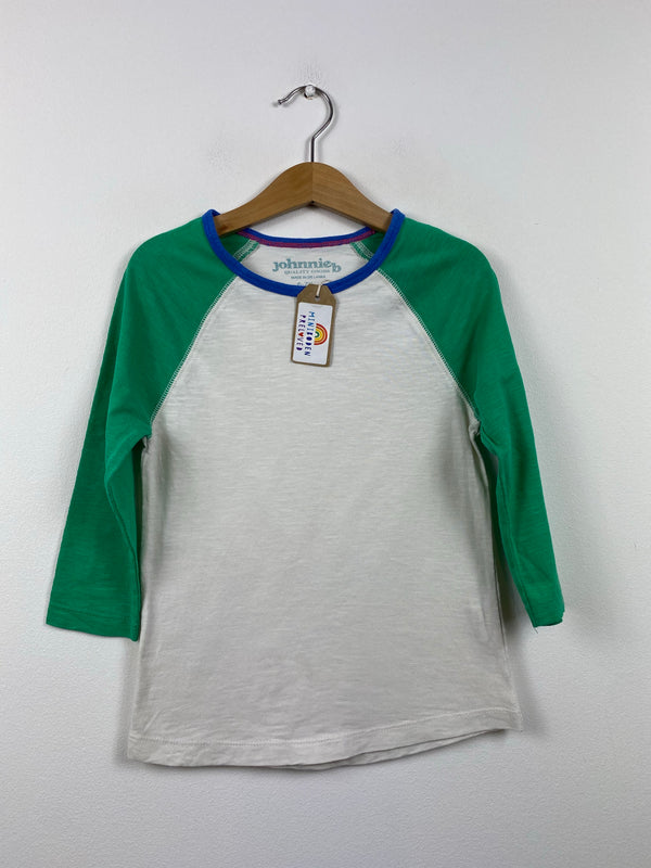 Green & White Cotton Raglan Top (6-7 Years)