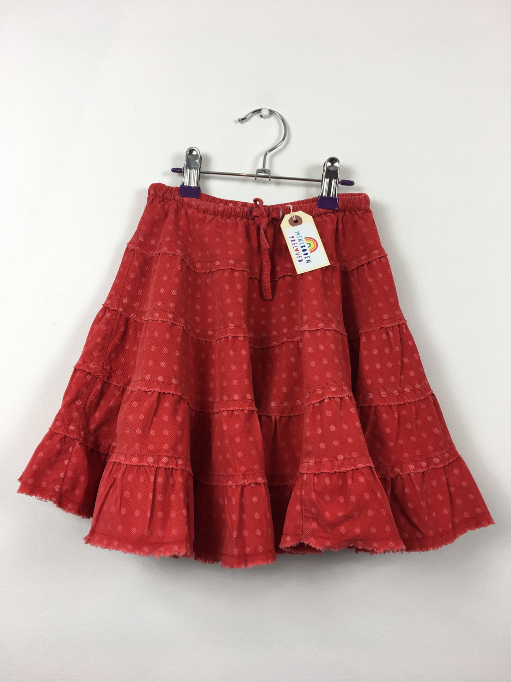 Raspberry Spot Floral Twirly Cord Skirt (3-4 Years)