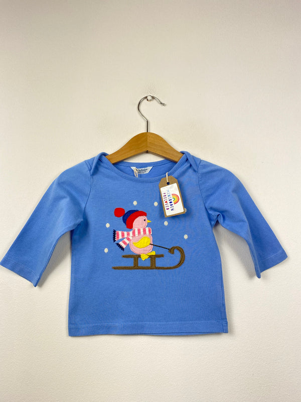 Applique Sledging Bird Blue Top (3-6 Months)