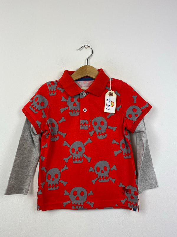 NEW Red Skull Patterned Collared Top (2-3 Years)