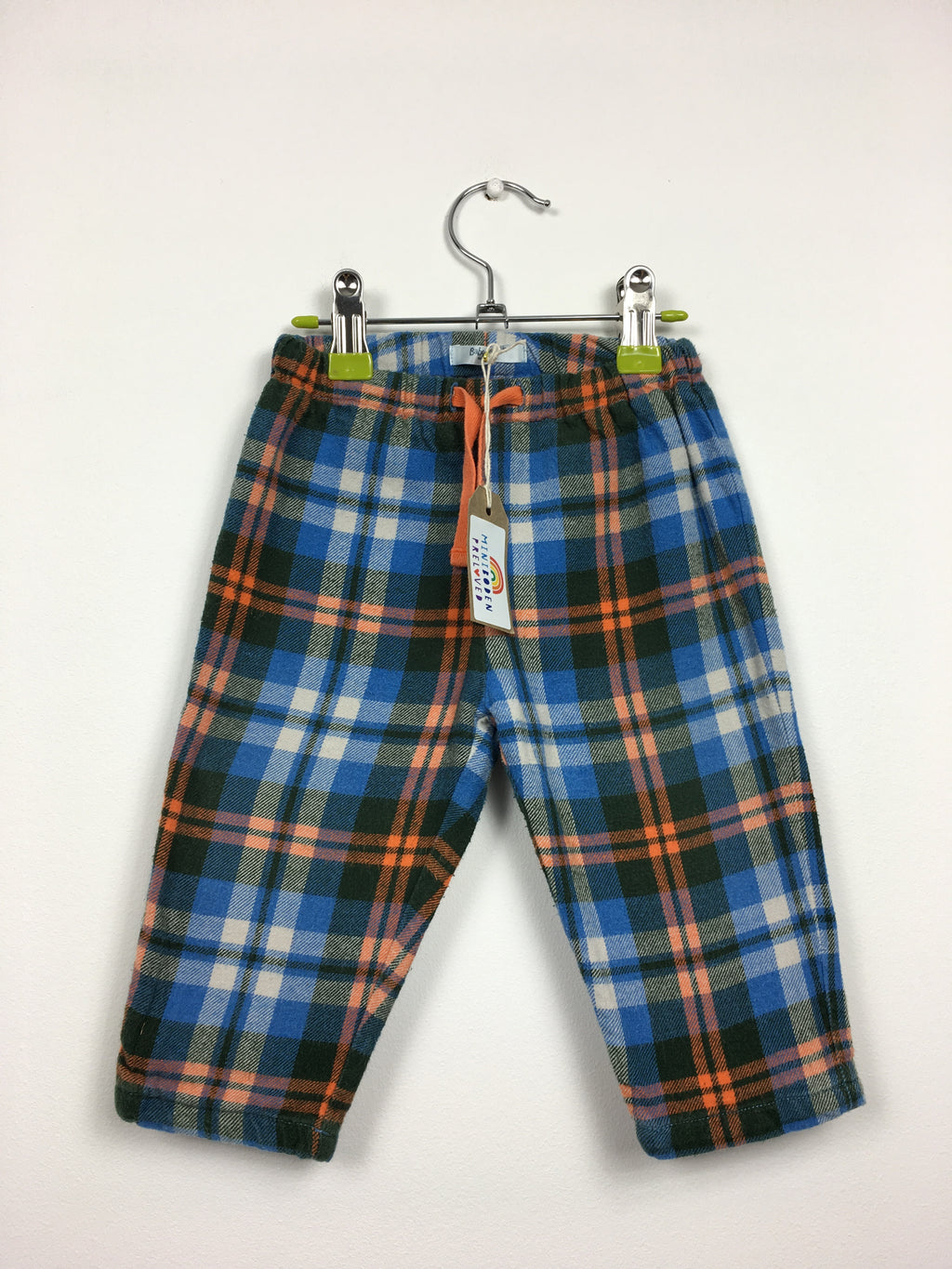 Blue & Orange Tartan Lined Baggies (6-12 Months)