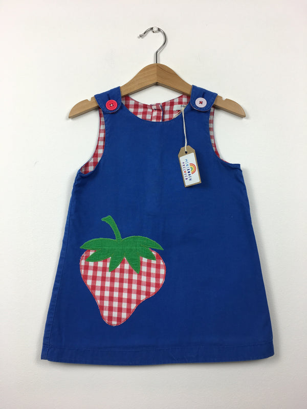 Applique Strawberry Blue Pinafore Dress (3-4 Years)