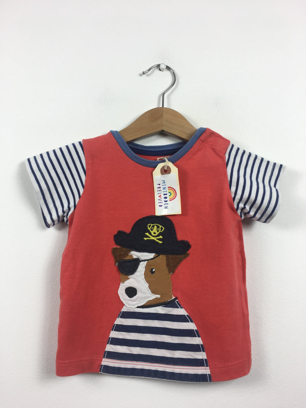 Applique Pirate Dog Red T-Shirt (6-12 Months)