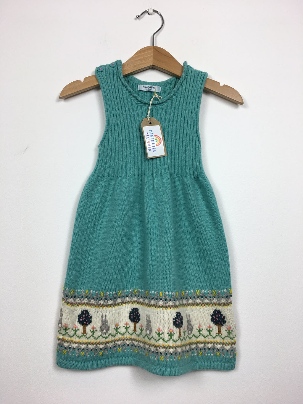 Rabbit Knitted Teal Dress (6-12 Months)