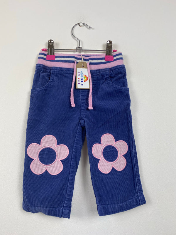 Flower Knee Patch Navy Cords (6-12 Months)