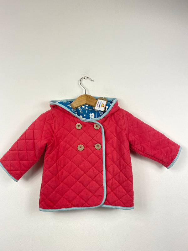 Reversible Coral/Blue Floral Quilted Jacket (6-12 Months)