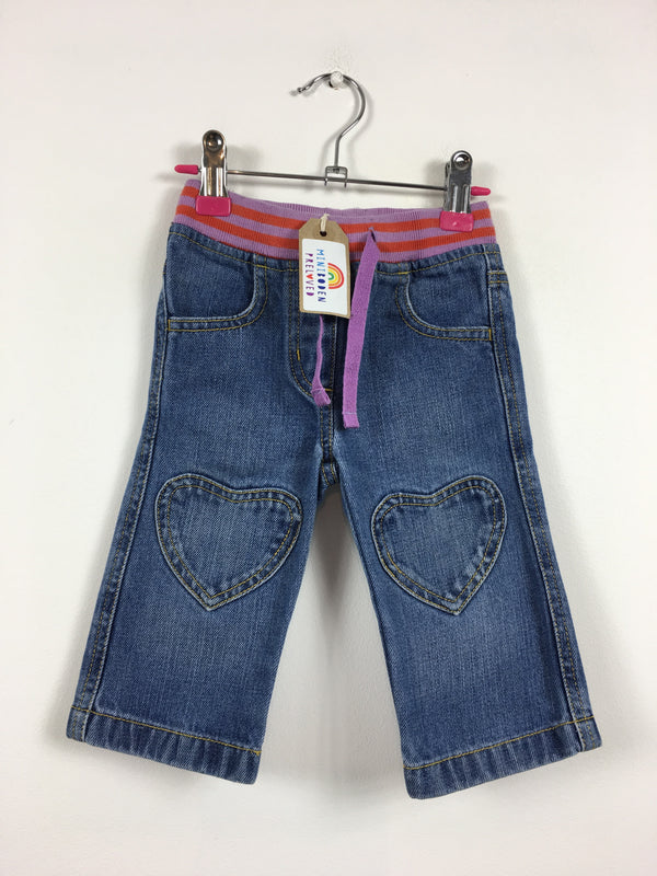 Heart Patch Knee Blue Jeans (6-12 Months)