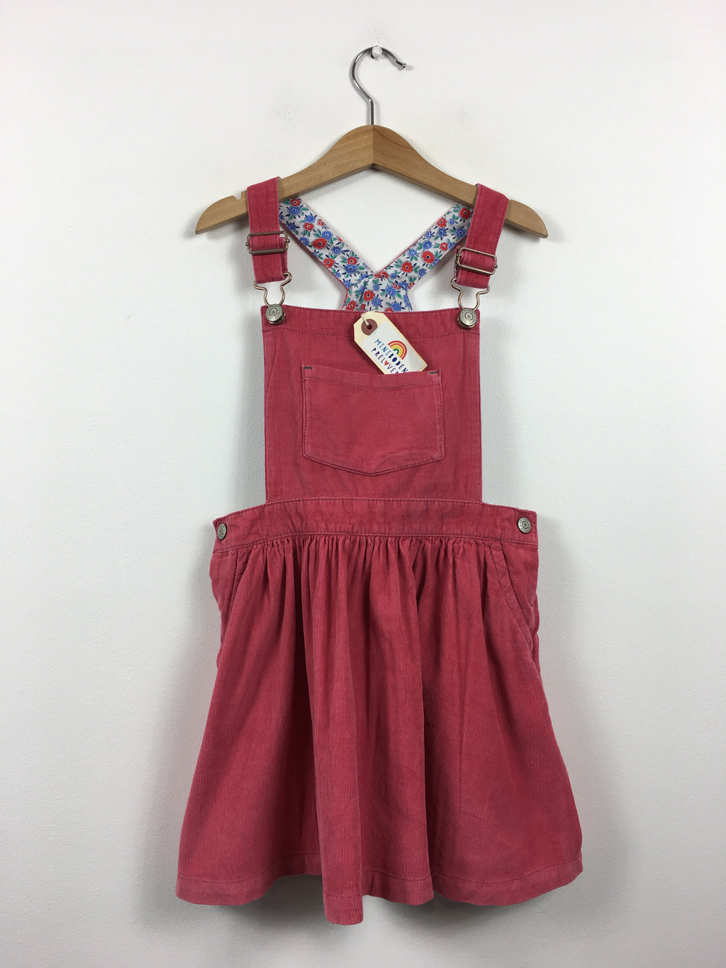 Lovely Raspberry Needle Cord Dungaree Dress (6-7 Years)