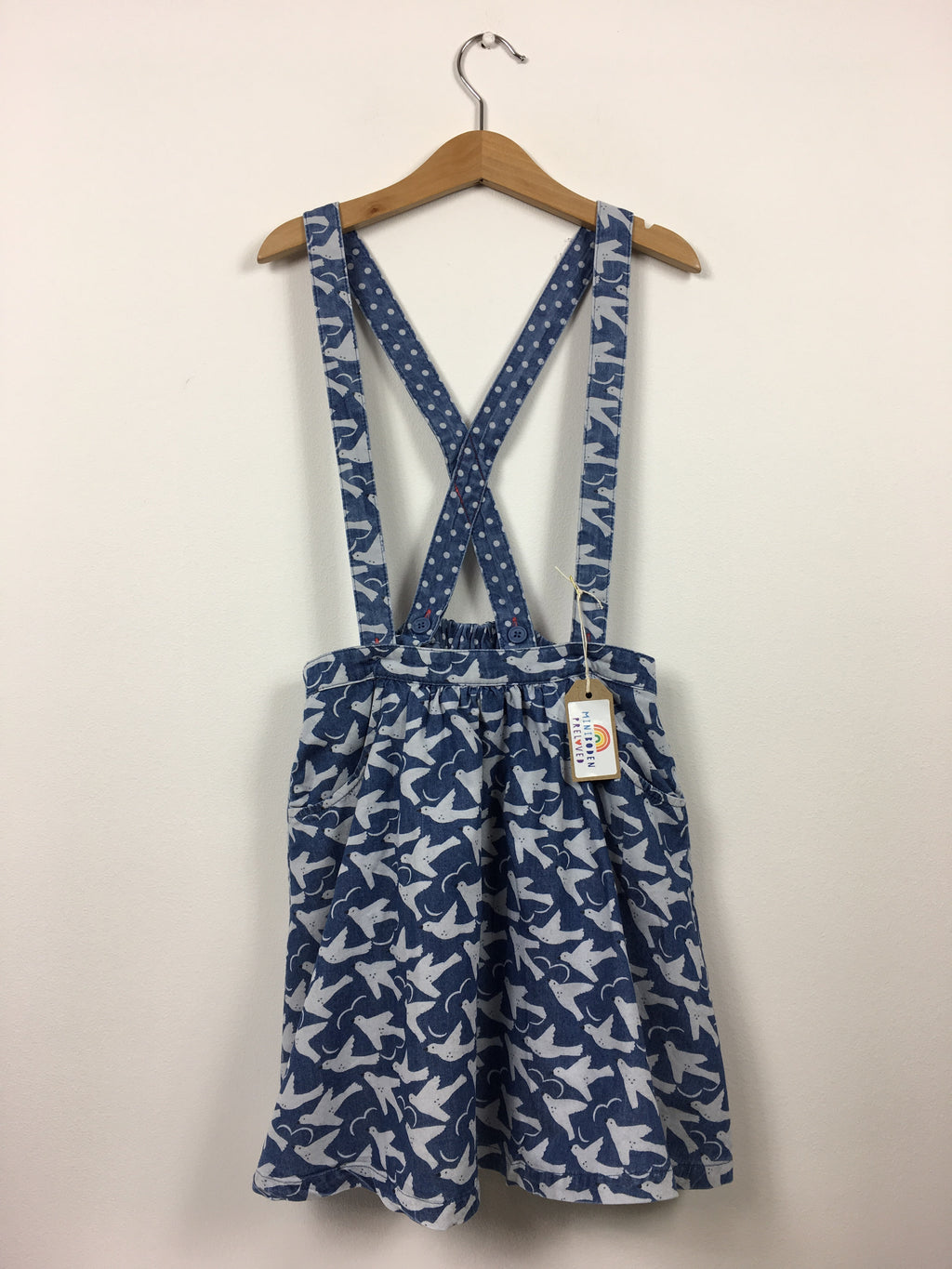 Blue Swallow Print Skirt With Braces (9-10 Years)