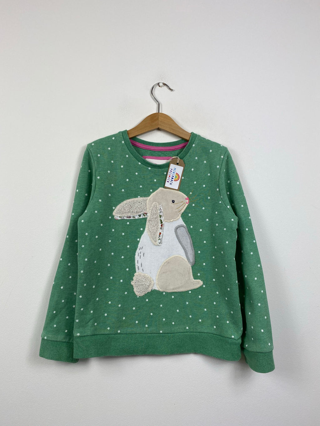 Lovely Green Applique Rabbit Jumper (7-8 Years)
