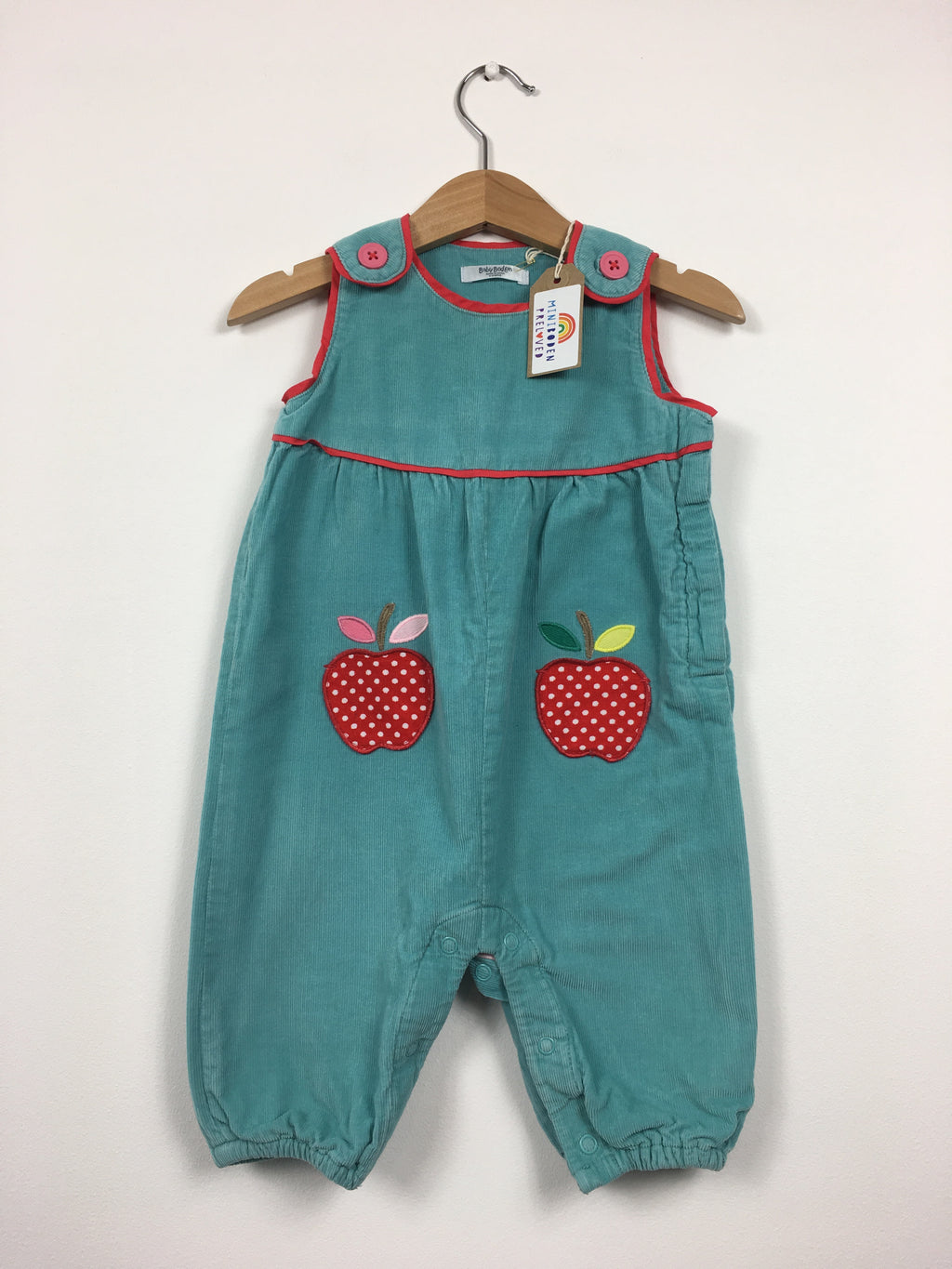 Adorable Turquoise Cord Dungarees With Apple Pockets