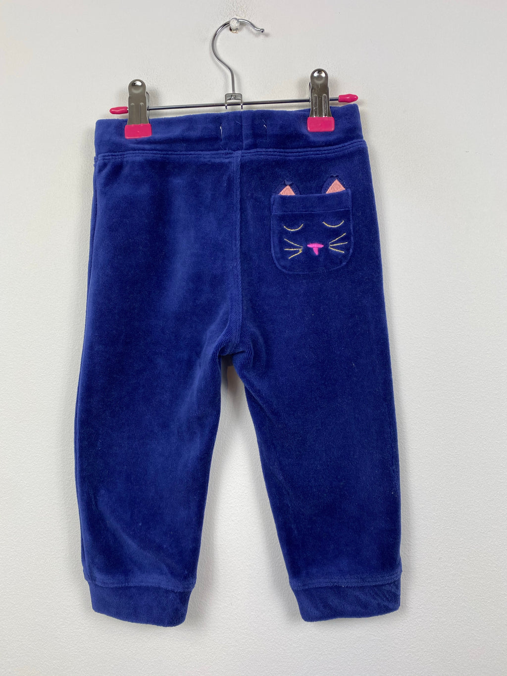 Super Soft Midnight Blue Velour Joggers (12-18 Months)